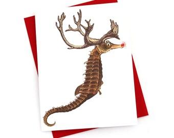 Funny Christmas Card, Seahorse Reindeer Nautical Christmas Cards Set of 8 -