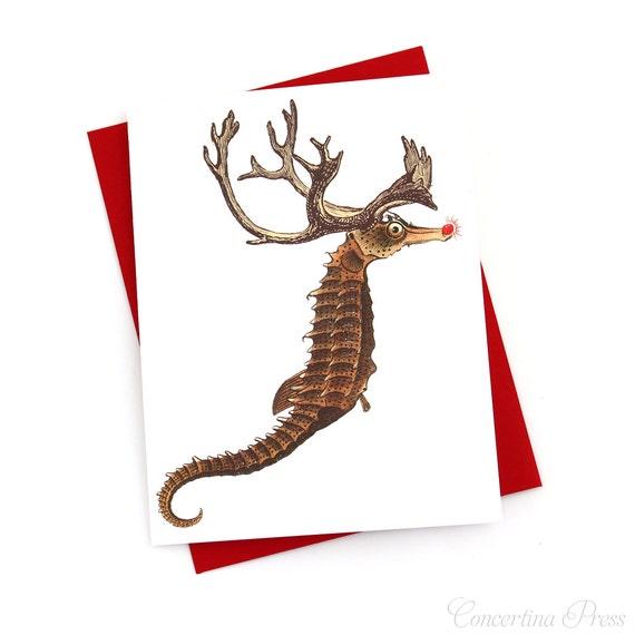 Items similar to funny christmas card seahorse reindeer for Funny reindeer christmas cards