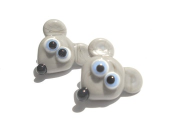 Set of 2 glass lampwork grey mouse buttons