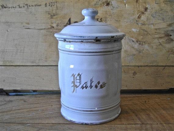 French vintage enamel canister white shabby chic