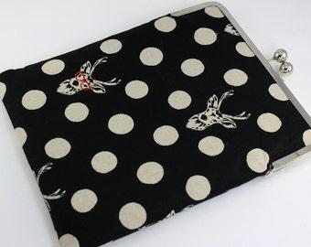 Frame clutch for iPad - iPad Case, iPad Sleeve, iPad Cover, PADDED - Polka Dots and Deers