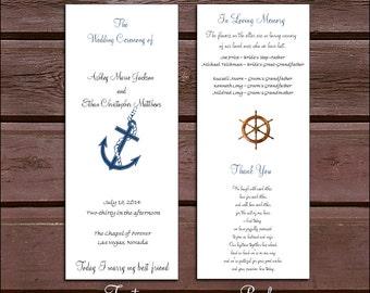 100 Nautical Beach Wedding Ceremony Programs