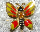 Vintage Enamel Brooch, Figural Butterfly Pin, Colorful Yellow Red Black, Orange Citrine Rhinestones, Summer Fall, 1960's Mad Men Jewelry