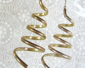 Vintage Statement Earrings, HUGE Gold Wire Spiral Cones, LONG Pierced Dangles, 1980's MOD Jewelry