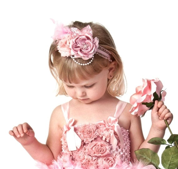 baby headband, girls vintage flower headband, shabby chic rose headband with pearl and feather accents