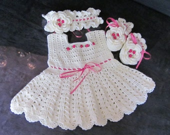 Custom order!!!  Handmade Baby Girl Crochet Dress, Head Band, and Booties Set with Beautiful Flowers