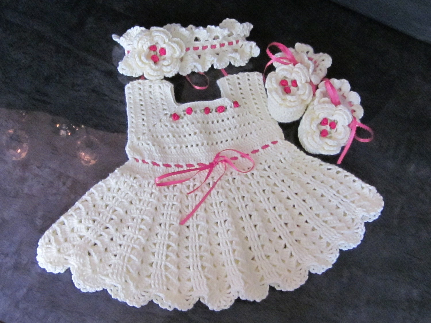 Crochet Patterns Dresses For Babies : Custom order Handmade Baby Girl Crochet Dress Head Band