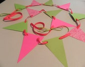 Paper Garland Pink and Lime Birthday Decor Paper Bunting Wedding Garland Party Decoration Bridal Shower Decor Baby Shower Decor
