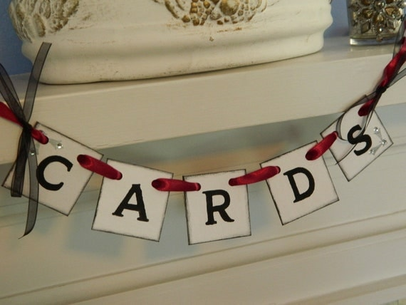 Wedding Cards Box Mini Cards Sign -Wedding Cards Banner Cards Suitcase Sign and Birdcage Garland You Pick the Colors