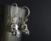 Octopus Earrings Antique Silver Octopus Earrings