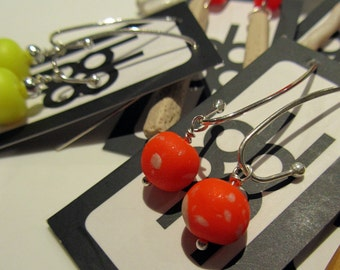 fluoro neon electric orange and sterling silver colour block polymer clay fashion earrings