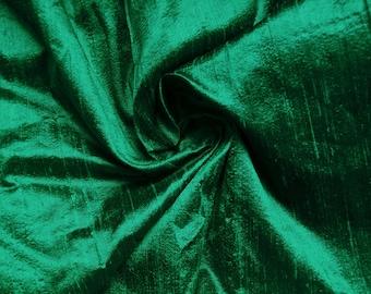 One yard of jade green 100 percent pure  dupioni silk