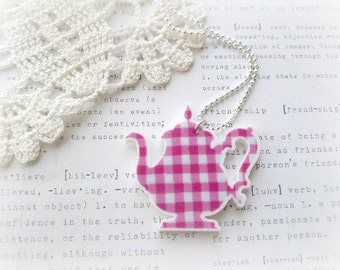 ON SALE Pink Gingham Teacup Necklace