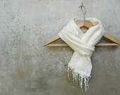 "Felted Wool Cobweb Scarf  ""Champagne"" - Wool and Silk Lace"