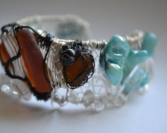 Clearance Sale- Cuff Bracelet Hand Knitted Wire Sea Glass Clown Fish with Crystal Quartz and Aqua Shell