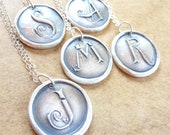 Wax seal initial monogram letter necklace pendant hand crafted from recycled fine silver in any letter of the alphabet