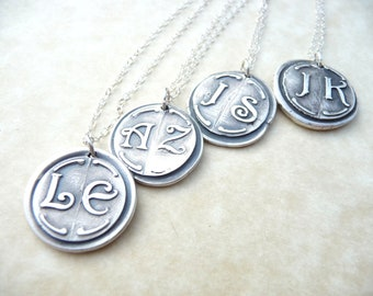 Personalized necklace wax seal bridesmaid monogram pendant jewelry in first and last initials, four pendants custom made to order