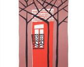 Original hand pulled screen print. 'Dusk. Standing alone on the boulevard.'
