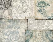 Digital papers.  Decoupage, Digital Paper Pack // Grey Beige // Floral  Damask // Commercial Use // Tp5