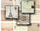 Vintage France map Post cards stamp  handwriting  2,5 in -  Digital Collage Sheet, Download Scrapbooking Paper  Print  Clip Art Images 116