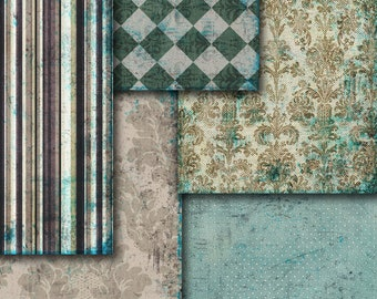 INSTANT DOWNLOAD. Wrapper green  brown blue damask wallpaper scrapbooking ,  Digital Collage Sheets   to Download Tp23