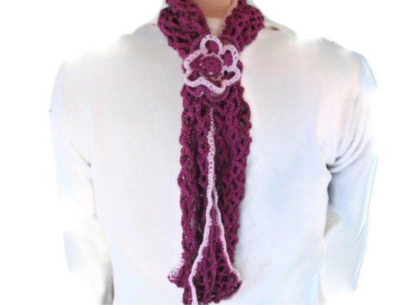 SALE Lacy Scarf, Scarflette in Raspberry & Pale Pink with Flower. Eco Friendly, Womens Fashion Accessories,  Crochet