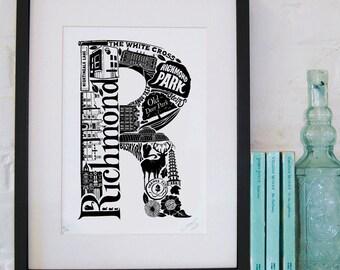 Best of Richmond - London print - London poster - London Art - Typographic Print - London illustration - letter art - South London poster