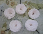 Five White Handcrafted Flower Pins with Swarovski Rhinestones...Great for a Bride, Bridesmaid or Special Occasion