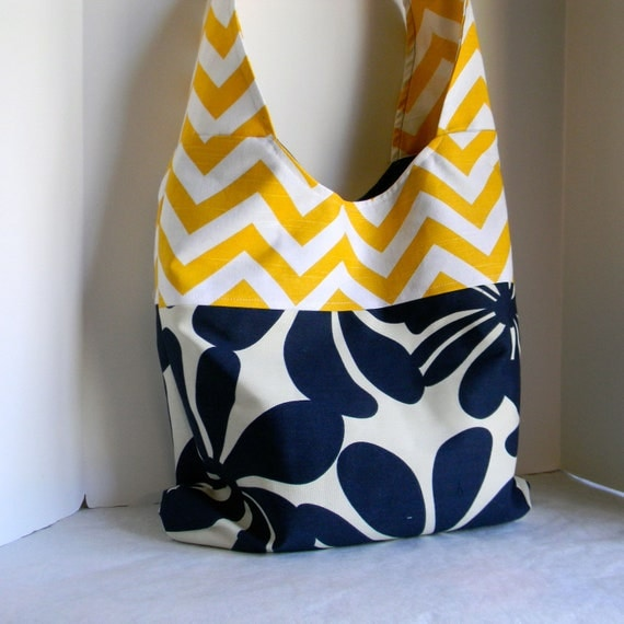Cross Body Tote Messenger bag in summer blue yellow and white