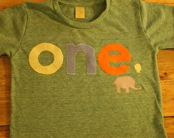 Zoo animal Birthday shirt elephant Customize colors Boys Girls Organic Blend Birthday Tee first birthday shirt