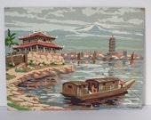 Vintage mid-century PBN paint by numbers Japanese harbor landscape scene