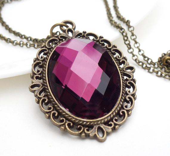 Dark purple gothic necklace, purple crystal necklace in antique bronze, dark purple necklace, teen gothic jewelry