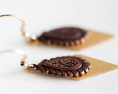 Floral Drop Earrings Diamond Shape Charm Antiqued Copper Jewelry Tiny Feather Floral Earrings - E220