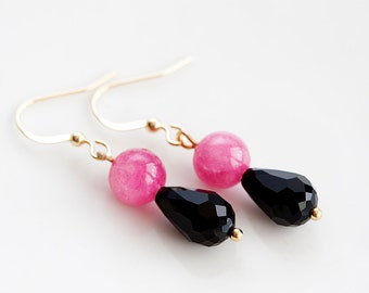 Pink Black Drop Earrings Magenta Beads Black Teardrops Dangle Earrings Neon Pink Cute Earrings - E187