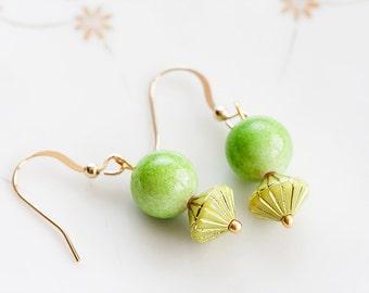 Lime Green Bead Earrings Apple Spring Lawn Green Earrings UFO Shaped Gold Stripes Apple Earrings - E191