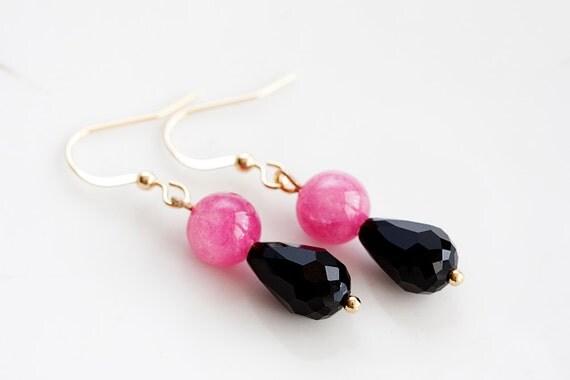 Pink Black Drop Earrings Magenta Beads Black Teardrops Dangle Earrings Neon Pink Cute Earrings - E187