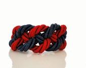 Navy Blue Red Nautical Braided Rope Bracelet