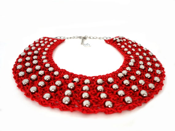 Red Summer Fashion Knitted Collar Bib Necklace