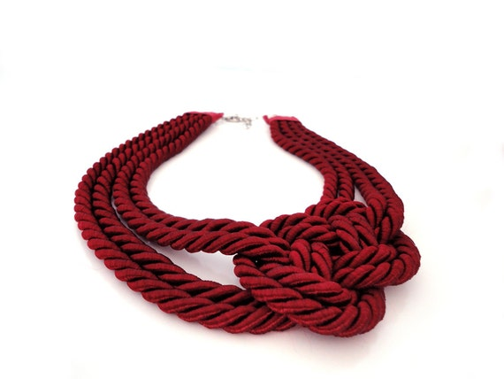 Burgundy Nautical Sailor's Knot Rope Infinity Collar Necklace