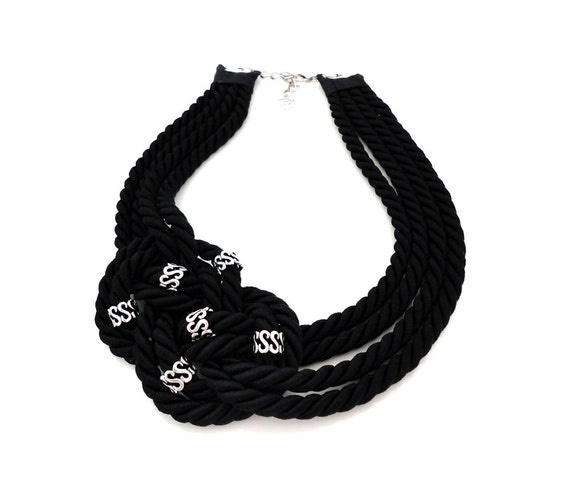 Black Sailor's Knot Nautical Rope Collar Necklace