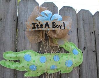 Alligator Burlap Door Hanger It's A Boy