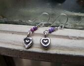 Silver Heart Drop Earrings with Purple Jasper Beads