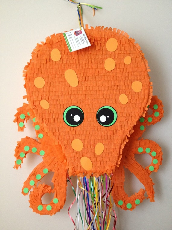 Octopus Pinata. Large Orange Octopus Pinata