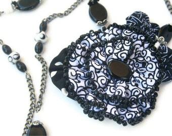 Statement Necklace Beaded Fabric Flower  - Black White Geometrics Chain Necklace, Fiber Art Flower, Hand Made Jewelry
