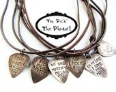 Personalized Guitar Pick - Mens Necklace - stamped jewelry rustic brown leather - man gift