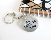 crow keychain journal hand painted hand stamped key chain  - inspirational gift
