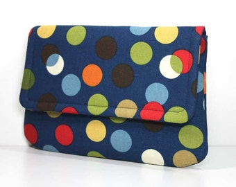 Clutch Purse -  Multicolored Dots on Navy Blue with 2 Pockets  - Optional Detachable Wrist Strap