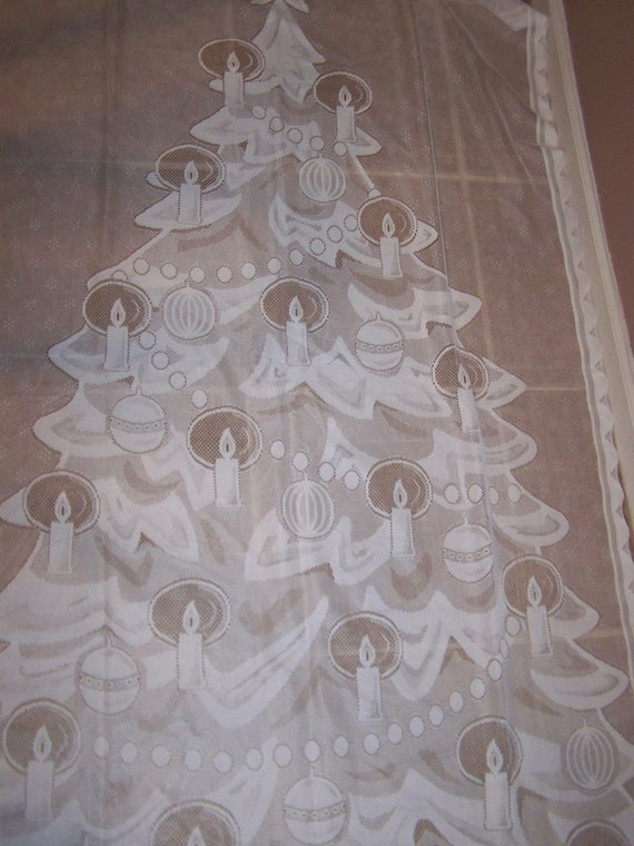 2 Vintage Lighted White Lace Christmas Tree Curtain Panel