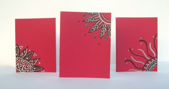 Deep Red Hand Drawn Note Cards - Set of 3 - Envelopes included - 100% Charity Donation