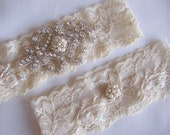 Beautiful Beaded Ivory Stretch Lace Wedding Bridal Garter, Gorgeous Pearl and Crystal Cluster on Vintage Inspired Lace.